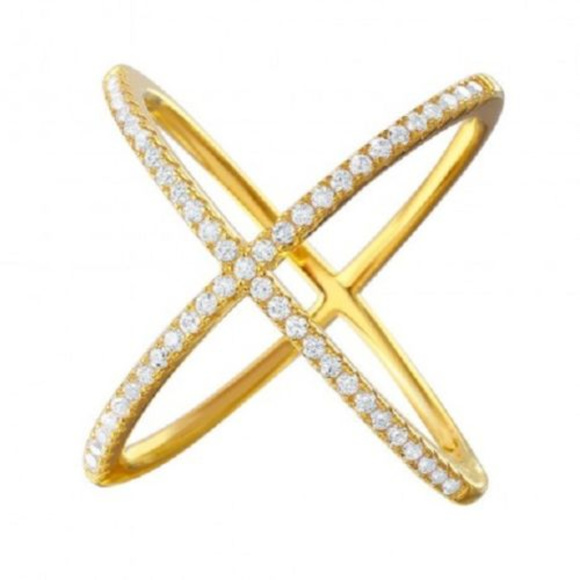 "Element Shine Jewelry - NWT Sterling Silver Gold 4 Way CZ Fashion ""X"" Ring"